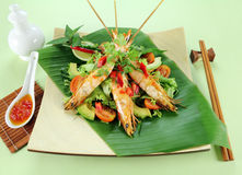 Chilli Shrimp Skewers Royalty Free Stock Photos