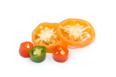 Chilli slices different color Royalty Free Stock Photos
