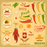 Chilli spice, chili pepper,. Vegetables, mexican food, label design Stock Image