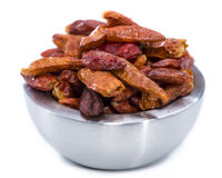 Chilli Spice in a small Bowl (on white) Stock Photos