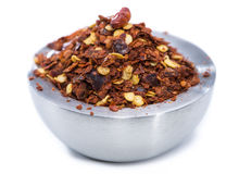 Chilli Spice in a small Bowl (on white) Royalty Free Stock Photo