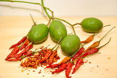 Chilli with Spondias dulcis Malaysian fruit Stock Photo