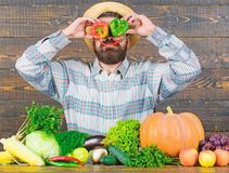 Chilli and sweet pepper as smile and eyes. Bearded farmer hold peppers in front of face. Pepper harvest concept. Farmer. Having fun wooden background. Man hold stock images
