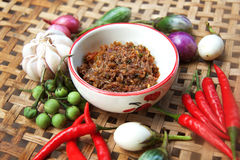 Chilli thai food. Thai cuisine nam prik or chili paste mixes with fish serves with various vegetables Stock Photography