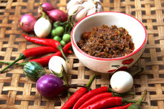 Chilli thai food. Thai cuisine nam prik or chili paste mixes with fish serves with various vegetables Stock Images