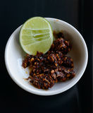 Chilli. Thai chilli paste and lemon Stock Photos
