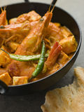 Chilli Tiger Prawns and Paneer Cheese Royalty Free Stock Photo