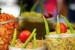 Chilli and tomatoes ath the indian market Royalty Free Stock Images