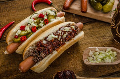 Chilli and vegetarian hot dog Royalty Free Stock Images