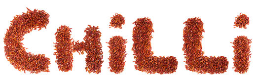 Chilli written with chilli peppers Stock Photos