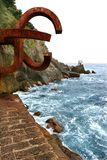 Chillida rusty steel sculpture in San Sebastian. Sea: Peine de los Vientos Royalty Free Stock Photography