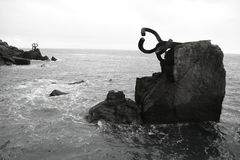 Chillida rusty steel sculpture in San Sebastian. Sea: Peine de los Vientos Royalty Free Stock Photo