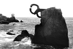 Chillida rusty steel sculpture in San Sebastian. Sea: Peine de los Vientos Royalty Free Stock Image
