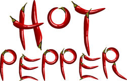 Chillies. Writing created with chillie peppers Stock Photos