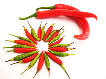 Chillies. Of big and small sizes. Photographed from the top stock photography