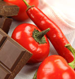 Chillies And Chocolate Royalty Free Stock Photography