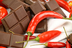 Chillies And Chocolate Royalty Free Stock Photos
