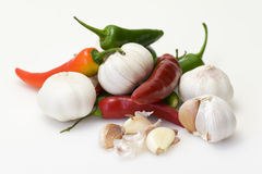 Chillies and garlic close up Stock Images