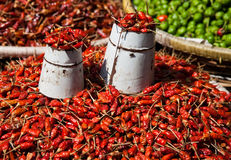 Chillies at Market in Kathmandu, Nepal Stock Images