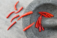 Chillies in Mortar with Pestle on a wooden table for spicy thai Royalty Free Stock Photography