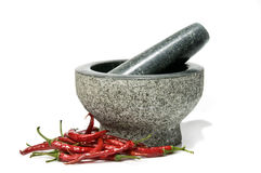 Chillies with pestle and mortar. Fresh red chillies with pestle and mortar, isolated on a white background Royalty Free Stock Photo