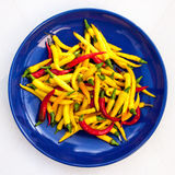 Chillies. A varied crop of chillies Royalty Free Stock Photo