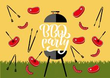 Chillin` and grillin` BBQ chalkboard sign . Hand drawn typography lettering BBQ party. Barbecue grill with tongs and forks,. Sausages and steaks. Flat vector vector illustration