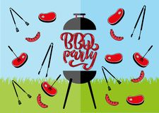 Chillin` and grillin` BBQ chalkboard sign . Hand drawn typography lettering BBQ party. Barbecue grill with tongs and forks,. Sausages and steaks. Flat vector royalty free illustration