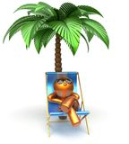 Chilling beach cartoon character deck chair man relaxing Stock Image