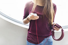 Chilling Calm Casual Electronic Earphone Audio Concept Stock Photo