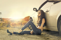 Chilling by the car royalty free stock photos