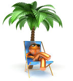 Chilling man character palm tree relaxing beach deck chair. Sunglasses summer comfort stylized golden cartoon person sun lounger chaise lounge tourist Stock Photography