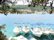 Chilling and relaxation holidays in Lefkada Greece. Ferry around the shore. stock images