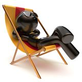 Chilling relaxing carefree man sunburn beach deck chair icon Stock Images