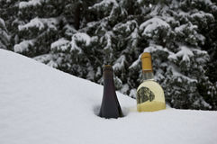 Chilling Wine. Two bottles of different wines displayed in an untouched snowdrift as they are chilled Royalty Free Stock Image