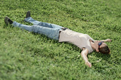 Chilling. Woman resting chilling on meadow Stock Photography