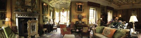 Chillingham城堡内部全景 免版税图库摄影