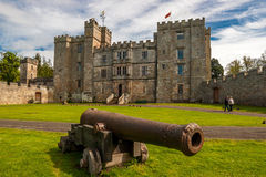 Chillingham Castle with Cannon Stock Image