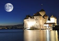Chillion castle at night Royalty Free Stock Images