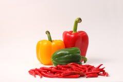 Chillis et paprikas rouges Photo stock