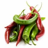 Chillis rouges et verts Image libre de droits