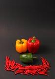 Chillis y paprikas rojos Fotos de archivo