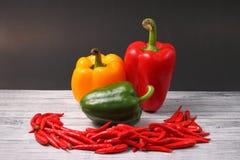 Chillis y paprikas rojos Foto de archivo libre de regalías