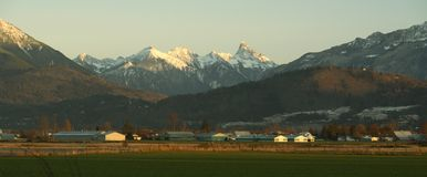 Chilliwack, British Columbia. Mountain view shot taken from a country farm in Chilliwack, British Columbia Royalty Free Stock Photo