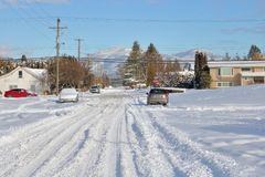 Chilliwack, Canada After Snowstorm. Chilliwack, British Columbia, Canada, a small city on the west coast and the residential streets after a major snowstorm royalty free stock image