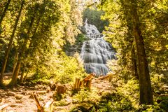Chilliwack, CANADA - JULY 14, 2018: People in Bridal Veil Falls Provincial Park British Columbia Canada summer day. Chilliwack, CANADA - JULY 14, 2018: People stock images