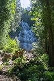 Chilliwack, CANADA - JULY 14, 2018: People in Bridal Veil Falls Provincial Park British Columbia Canada summer day. Chilliwack, CANADA - JULY 14, 2018: People stock photo