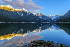 Chilliwack Lake with the reflecting Mount Redoubt Skagit Range Royalty Free Stock Photography