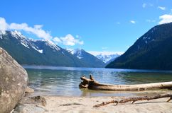 Chilliwack lake in the winter. View of Chilliwack lake and the surrounding mountains in the late winter/earlyspring.  Lake is situated in British Columbia Royalty Free Stock Images