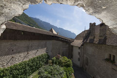 Chillon城堡,瑞士内在庭院  免版税库存图片